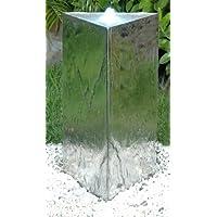 Fontana in acciaio a pilastro triangolare con luci LED