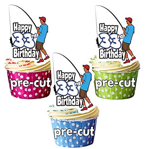 vorgeschnittenen Angeln Fischer-33. Geburtstag-Essbare Cupcake Topper/Kuchen Dekorationen-Herren-Sohn-Mann-Dad (12Stück) - Dekorationen Geburtstag Angeln