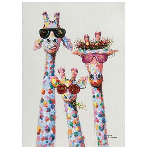 HXQQ Kunst Bunte Öl Tier Giraffe Eine Familie Mit Brille Malerei Leinwand Foto Leinwand Wandkunst Für Bettwäsche Room40x60cm