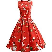 iBaste Vintage Vestidos Estampados Mujer con Vuelo Vestido Navidad con Cinturón Classic Fiesta Dress
