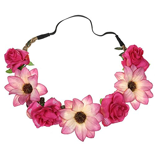 Neu Garland Damen Simulation Sonnenblume Rose Haarband Stirnband, LEEDY Mädchen Kopfband Tanzparty Party Geschenk Neuheit Blume Muster bedruckt Verdreht Stirnbänder Kopfbedeckung (Hot Pink)