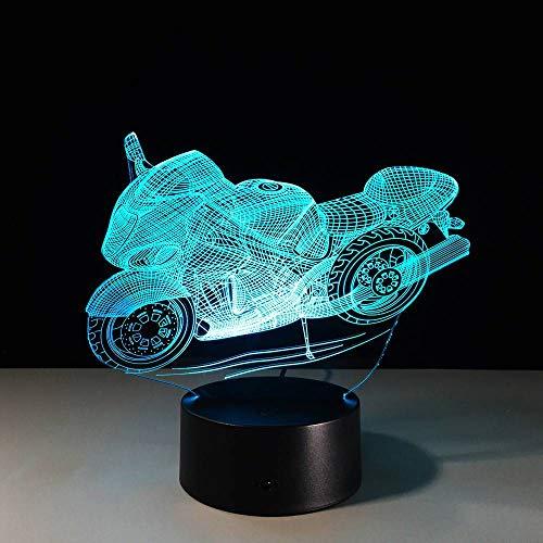 YDBDB Nachtlicht 3D Motocross Fahrrad Nachtlichter Neuheit Motorrad 3D Tischlampe Usb 7 Farben Sensor Touch Schreibtischlampe Als Urlaub Awards Geschenke -