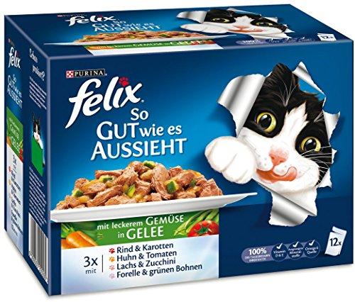 Felix So gut wie es aussieht Katzenfutter Fleisch und Fisch Mix mit Gemüse, 6er Pack (6 x 12 x 100 g) Beutel