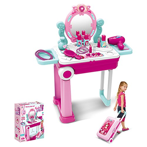 MRKE Kinder Schminkset Mädchen, 19 Stück Rosa Kunststoff Rollenspiel Spielzeug, Kosmetikkoffer...