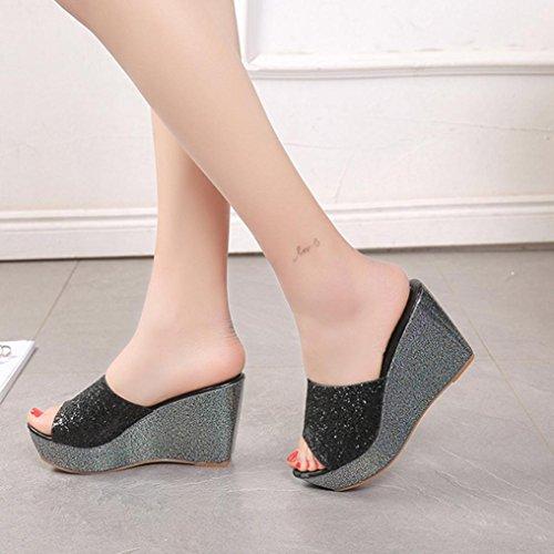 Omiky® Frauen Hausschuhe Sexy Open Toe Schuhe Wedge Slip High Heel Hausschuhe Flip Flop Schwarz
