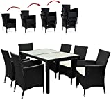 Deuba Poly Rattan Sitzgruppe 6+1 Schwarz | 6 stapelbare Stühle | 7cm dicke Sitzauflagen Creme | wetterfestes Polyrattan [ Modell- & Farbauswahl 4+1 / 6+1 / 8+1 ] - Gartenmöbel Gartenset Lounge Sitzgarnitur Essgruppe Set
