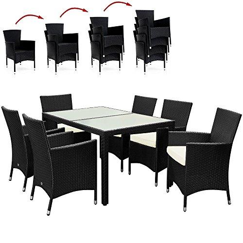 Poly Rattan Sitzgruppe 6+1 mit stapelbaren Stühlen Sitzgarnitur Gartengarnitur Gartenset