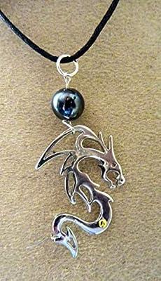 pendentif dragon hématite métal argenté