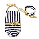 Vovotrade Fille Enfants Rayé Décor Macramé d'or Bodys Swimsuit Maillot de bain Set Vêtements de Bain(2 ans- 5 ans)
