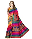 Glory sarees Womens Bhagalpuri Art Silk Cotton saree (gloryart04_pink and blue)