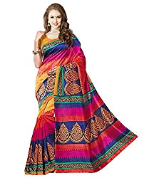Glory sarees Women's Bhagalpuri Art Silk Cotton saree (gloryart04_pink and blue)