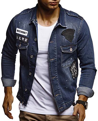 LEIF NELSON Herren Jeans-Jacke mit Knopf | Casual Freizeitjacke Slim Fit | Männer-Übergangsjacke Stretch Langarm | Das Beste in Kleidung Männer LN9550; Größe L, Blau -