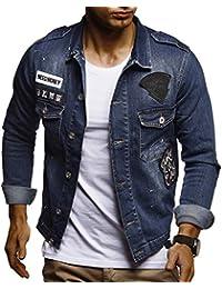 13d0afd43154 LEIF NELSON Herren Jeansjacke Basic Stretch Jeans Jacke mit Stehkragen  Übergangsjacke Hoodie…