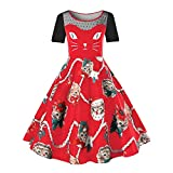 VEMOW Damen Elegantes Cocktailkleid Abendkleid Damen Mode Sleeveless Christmas Cats Musical Notes Print Beiläufig Täglich Vintage Flare Dress(X3-Rot, EU-46/CN-3XL)