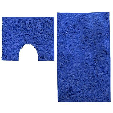 Just Contempo 2 Piece Anti Slip Bath and Pedestal Mat Set, Blue