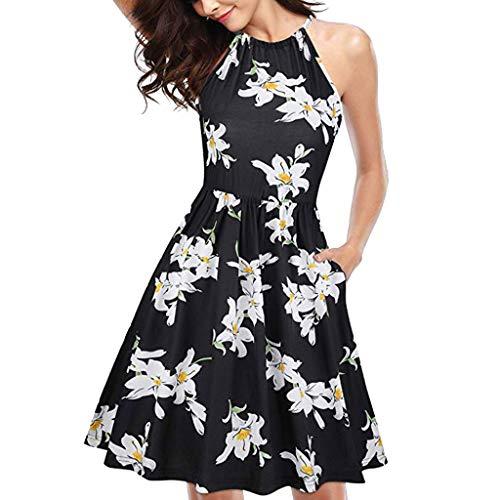 Sonojie Frauen Sommer Casual Halfter Blumendruck ärmellose Druck Mini Party Dress Sommerkleid eine Linie Party Cocktail Sommer Dress