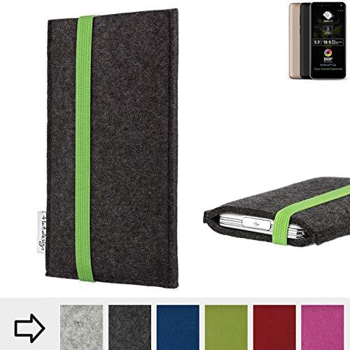 flat.design Handyhülle Coimbra mit Gummiband-Verschluss für Allview A9 Plus - Schutz Case Etui Filz Made in Germany in anthrazit grün - passgenaue Handytasche für Allview A9 Plus