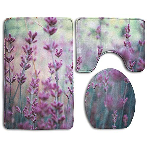 fengxutongxue Beautiful Detail of Scented Lavender Flowers Field In Perfect Radiant Orchid Color of The Bathroom Rug 3 Piece Bath Mat Set Contour Rug and Lid Cover - Rose Scented Bath Set