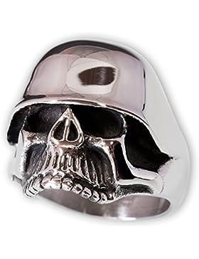 Fly Style® - Totenkopf mit Stahlhelm aus 316L Edelstahl - silber poliert - wehrmacht silber skull biker rocker...