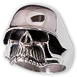 Fly Style® Totenkopf mit Stahlhelm aus 316L Edelstahl - silber poliert - wehrmacht silber skull biker rocker militaria, Ring Grösse:23.9 mm