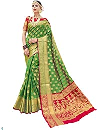 Mother's Day Gift From Daughter Green Banarasi Silk Saree With Blouse (Green)