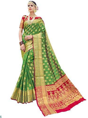 Ethnicjunction Silk Cotton Saree (Ej1178-07974, Green, Free Size)