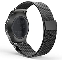 Gear S2 Classic Watch Correa, MoKo Milanese Loop Stainless Steel Bracelet Smart Watch Strap for Samsung Gear S2 Classic SM-R732 with Unique Magnet Lock, No Buckle Needed - Negro