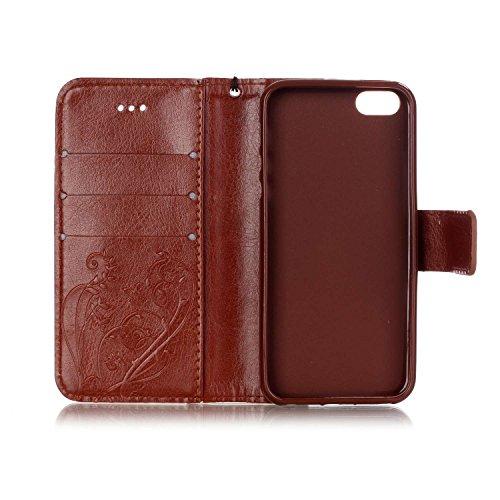 Wkae Case Cover Single Side Case motif en relief fleur en cuir PU, résine Case Rhinestone livre design Strap Case Pliable Wallet Stand pour Apple iPhone 5S ( Color : Blue , Size : Iphone 5S ) Brown