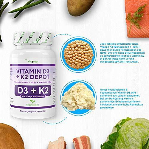 Vitamin D3 20.000 I.E + Vitamin K2 200mcg Menaquinon MK7 Depot – 100 Tabletten – 20 Tagesdosis 1000 I.E. D3 pro Tag – Alle 20 Tage eine Tablette, Vegetarische Tabletten, Vit4ever - 5