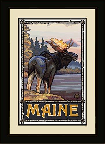 Northwest Art Mall pal-1252mfgdm COM Maine Elch im Lake gerahmtes Wandbild Art von Künstler Paul A. lanquist, 13von 40,6cm