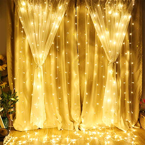 MCTECH 6x3M LED Lichtervorhang, 600 LED IP44 Sterne Lichterkette mit 8 Lichtprogramme Modi für Weihnachten Partydekoration Innenbeleuchtung