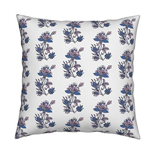 ZonaloDutt Blumendes Wurfs-Kissen-indisches L?wenzahn-Blau und ERR?Ten von jenlats botanisches quadratisches Wurfs-Kissen 18x18 - Indische Druck-wurfs-kissen