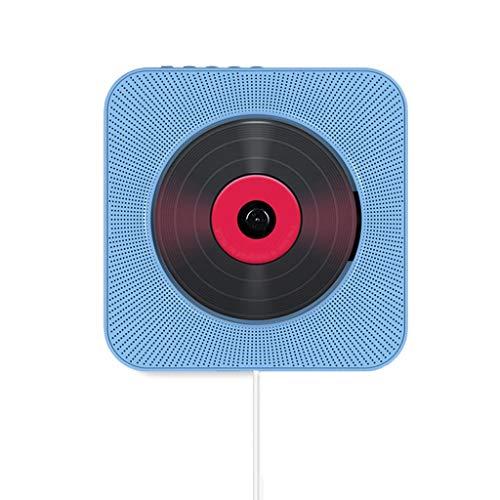 DUOER home Tragbare CD-Player An der Wand befestigter Bluetooth-CD-Player-Pull-Schalter mit Remote-HiFi-Lautsprecher USB-Laufwerk-Player Kopfhöreranschluss AUX-Eingang / -Ausgang (Color : Blue)