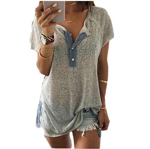 Vovotrade Femmes T-shirt Sexy Casual Blouse bouton Chemise Gris