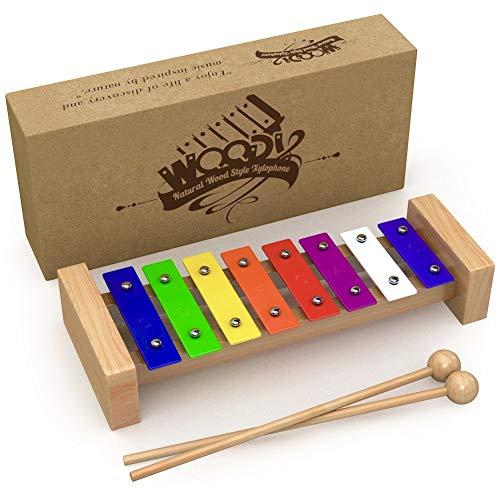 AGREATLIFE AGL Holz-Xylophon für Kinder - Musikinstrument MIT Notenbuch - Glockenspiel diatonisch gestimmt von C-C - Qualitativ hochwertig, schöner Klang - Baby Xylophon - *in extravaganter Box!