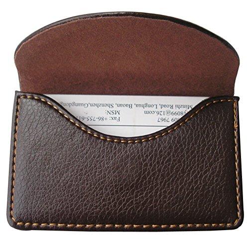 KINGFOM™ Visitenkarten-Etui aus Leder mit magnetischem Verschluss, Braun