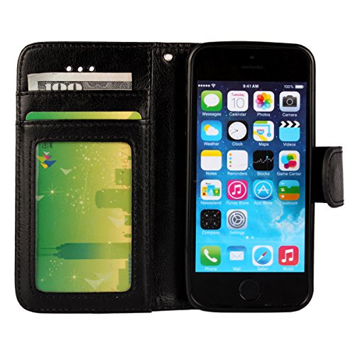 iPhone 5/5S Case, [Wallet Function] [Stand Feature] Vintage Crazy Horse Premium Leather Case, Flip Folio Book Cover with Magnetic Closure [Cash Pocket & 3 Credit Card Holders] (Rose) Black