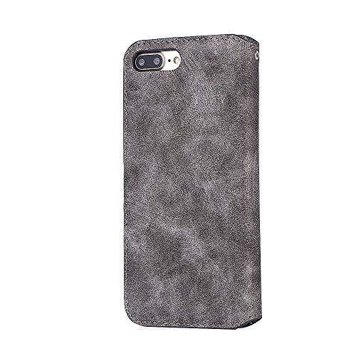 iPhone 7 Plus Hülle, iPhone 8 Plus Hülle, Valenth Leder Retro Muster Brieftasche Cover [Card Slots] Schutzhülle Cover für iPhone 8 Plus / iPhone 7 Plus Grau