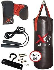 XQ Max Gear Set 2,5ft Compact Erwachsene/Junior Boxsack 16–17kg gefüllt, Handschuhe, Springseil, Deckenhaken & Schrauben Home Herren Indoor Training Zubehör Starter Kit schwarz/rot