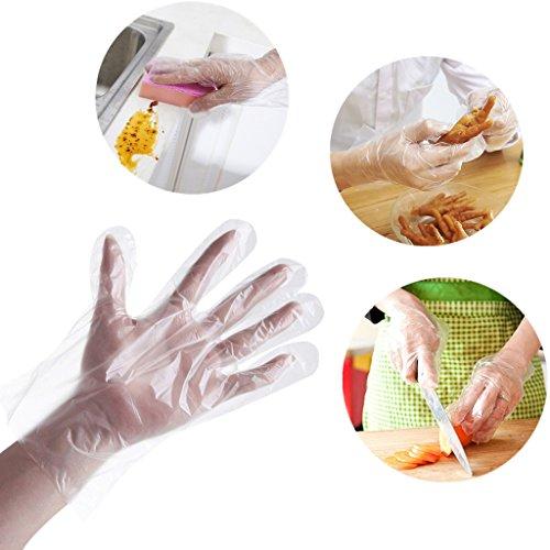 huhe Folienhandschuhe Transparente Lebensmittelqualität Kunststoff Handschuhe Verpflegung Schönheit Essen und Küche 500pcs ()