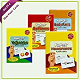 #8: Combo Mini Set of 4 Krazy Flash Cards (Vegetables+Actions+Body Parts+Transports )