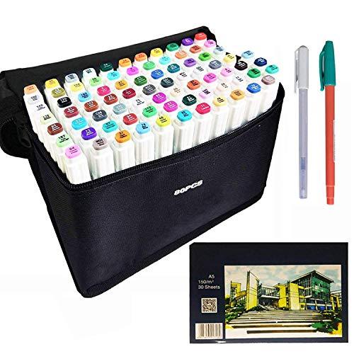 Ugui Neue Generation 80 Farben Marker Stift Manga Stifte Set Doppelspitze Graffiti Stifte für Studenten Kunstler Design Schule Zeichnung Kunstbedarf
