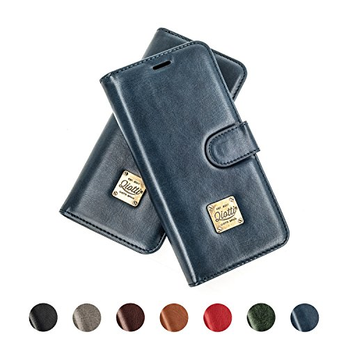 Apple iPhone X Ledertasche, QIOTTI Folio Leder Wallet Case mit [ RFID Schutz Blocking ] [ Standfunktion ] [ Kreditkarten Fächer ] [ Magnetverschluss ] [ ECO-FAUX Leder ] Flip Cover Hülle für iPhone X  BLAU