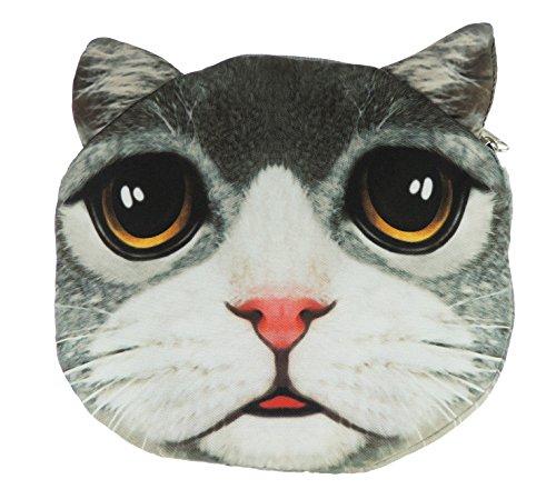 Adorabile gatto Lovers Cat Face small Spalla Borsetta Grey White Face