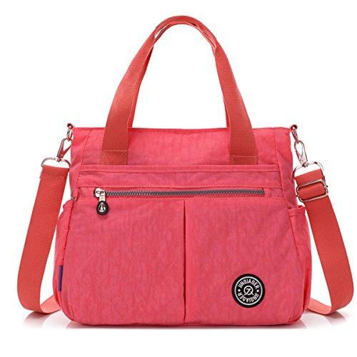 Tiny Chou wasserabweisend Nylon Handtasche Crossbody Messenger Bag mit abnehmbarer Schultergurt rose