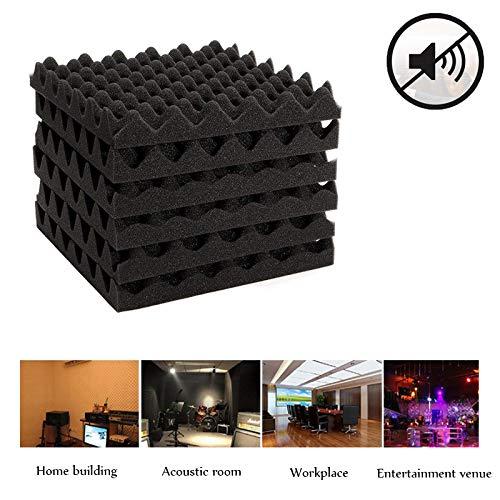JUNGEN 6Pcs Esponja supresora de ruidos Absorbente acústico de espuma Esponja aislante de sonido corrugado Retardante de llama de alta densidad Negro 30x30x4cm