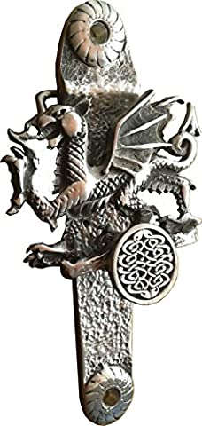 Heurtoir de porte du dragon gallois (Design exclusif) solide en étain anglais Post UK gratuit