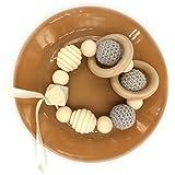 Coskiss Grigio Perline Crochet Gum anello di legno Perle spirale organici fatti a mano perle di legno naturale braccialetto di gomma del dente di legno per bambini Giocattoli per bambini in legno (Grigio)