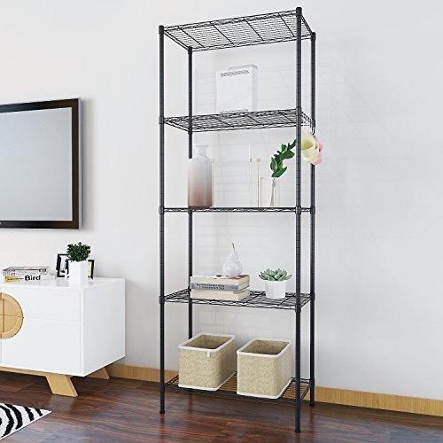 Acecoree Regal Standregal Metallregal Badregal Eckrega mit 5 Regalböden für Garage, Küchen, Organisation L54 x W29 x H158cm, Schwarz/Silber(5 Ablage)