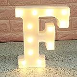 Broadroot 3D Englisch Buchstaben Form LED Nachtlicht Wandbehang Festzelt Zeichen Alphabet Licht Schlafzimmer Hochzeit Party Leuchte Deko Lampe (F)